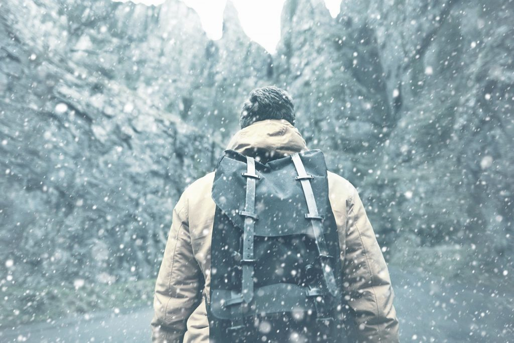Man Jacket Backpack Winter Snow